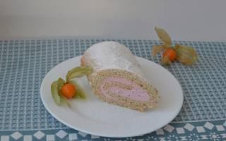 Рецепт бисквитного рулета с ягодно-сырным кремом