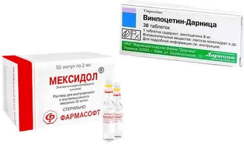 Пациентам с нарушением мозгового кровообращения могут назначаться препараты Винпоцетин и Мексидол
