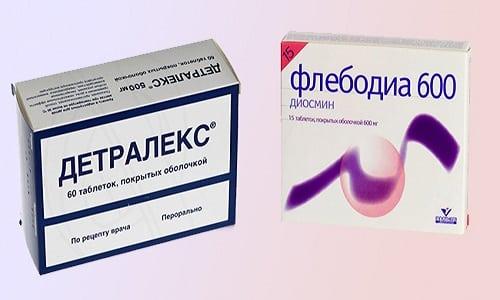 Для проведения терапии варикоза и хронической венозной недостаточности используется Флебодиа 600 или Детралекс