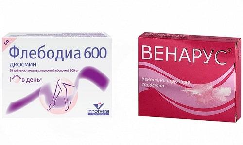 При возникновении заболеваний вен нижних конечностей показано использование препаратов Флебодиа или Венарус
