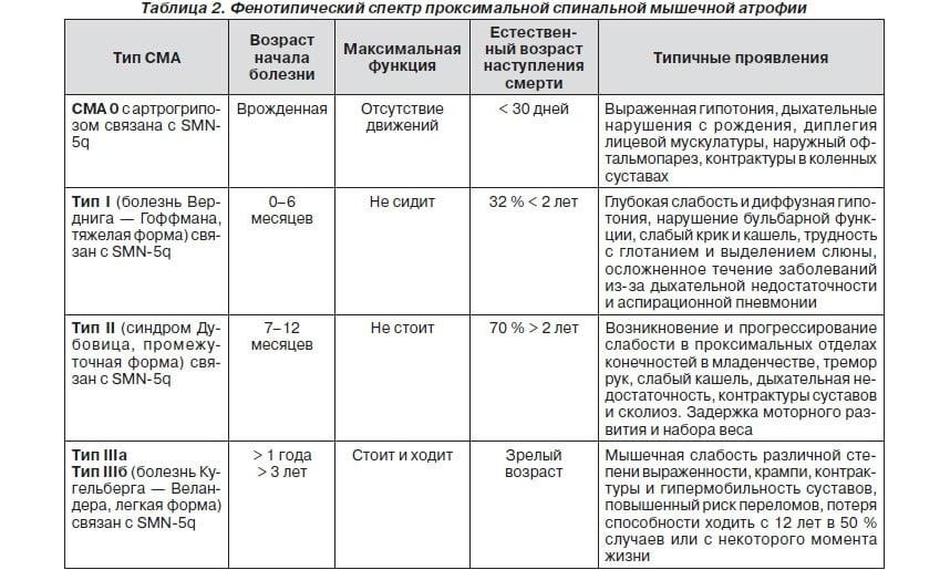 Спектр проксимальной мышечной атрофии