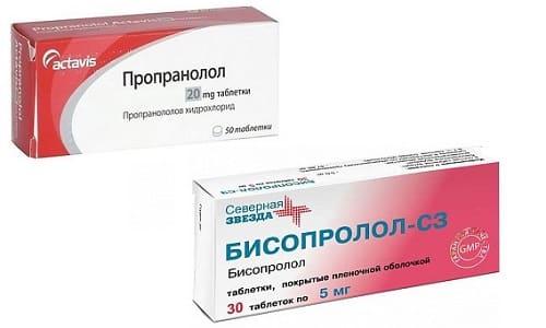 Пропранолол и Бисопролол используют в терапии аритмии, гипертензии и с целью понижения потребления мышцами кислорода