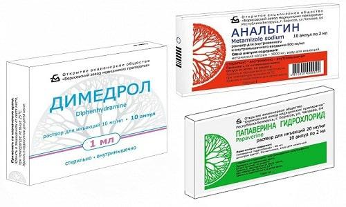 При остром болевом синдроме или гипертермии используют Анальгин, Папаверин и Димедрол
