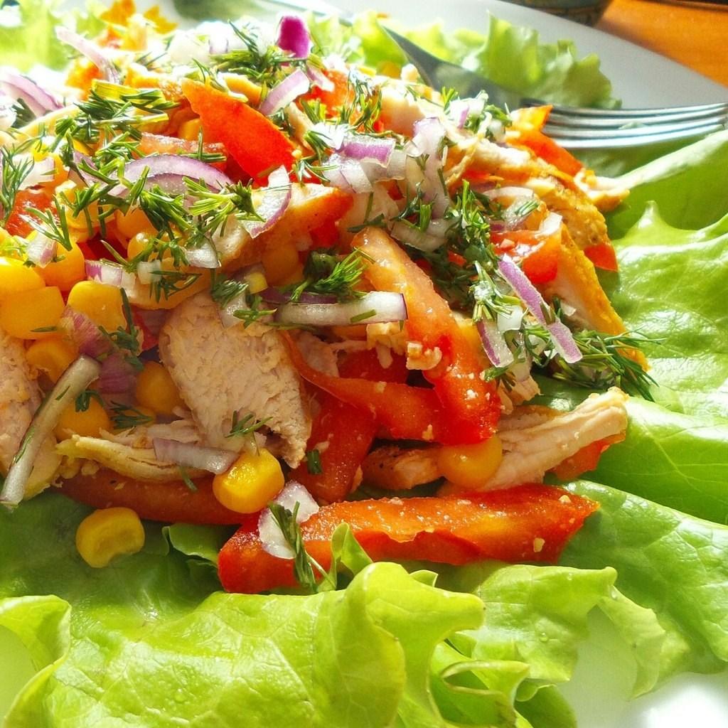 Овощной салат с курой