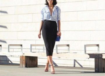 Классическая белая рубашка в голубую полоску - с чем ее носить